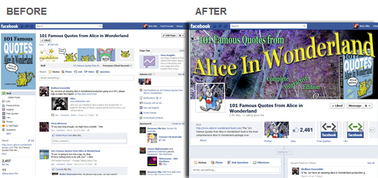 Alice In Wonderland Facebook Page (Before / After)