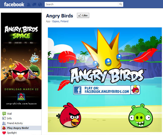 Angry Birds Custom Landing Page on Facebook