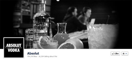 Facebook Brand Page Cover Image - Absolut