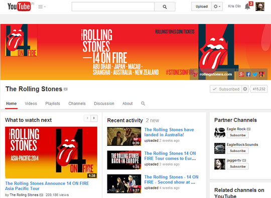 Branded YouTube Channel - The Rolling Stones